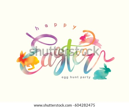 Happy Easter lettering with watercolor background