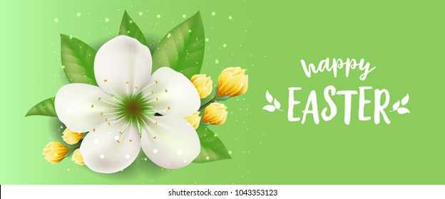 Happy Easter lettering with white blossom with glittering on green background. Calligraphic inscription can be used for greeting cards, festive design, banners, posters.