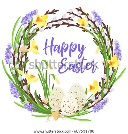 Happy Easter Lettering Spring Wreath Branches Flowers Stock Vector