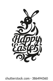 Happy Easter. Logo. Symbol. Vector. Type. Calligraphy