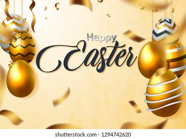 Happy Easter luxury banner background template with beautiful realistic golden eggs. Greeting card. Vector illustration