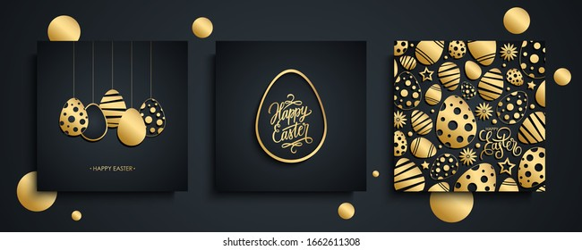 Happy Easter luxury greeting cards set. Easter holiday invitations templates collection with hand drawn lettering and gold easter eggs. Vector illustration.