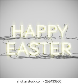 'HAPPY EASTER' made by neon font, vector