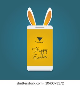 Happy Easter message. Smartphone with bunny ears
