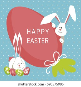 Happy Easter - modern vector template card. A holiday gift flyer with rabbit, egg, gift, blue pattern.