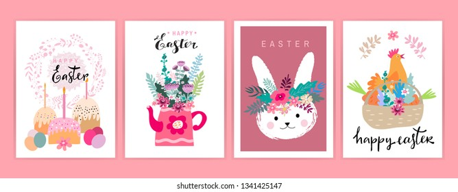 Happy easter nand drawn lettering. Set cute cartoon Greeting cards  templates  with Easter eggs, bunny, spring flowers. Vector illustration. - Shutterstock ID 1341425147
