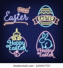 Happy Easter neon sign set. Egg, bunny, ribbon, calligraphy on brick wall background. Vector illustration in neon style for topics like dinner, celebration, holiday