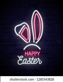 Happy Easter neon template. Pink and white neon rabbit ears isolated on dark brick background. Vector illustration