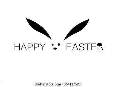 Happy easter nice and simple lettering with a rabbit and an egg on the top of the letter R isolated on white background.