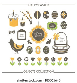 Happy Easter objects set