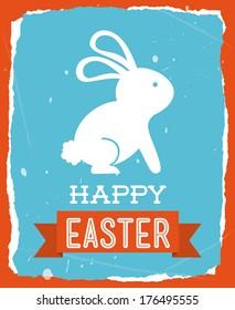 happy easter over orange background vector illustration