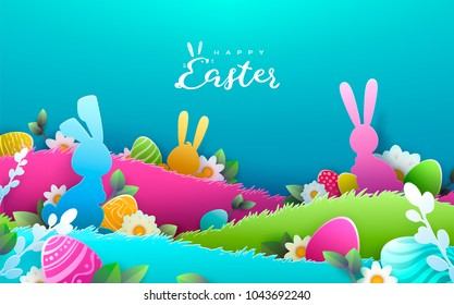 Happy Easter Paper art background, trendy pattern with Egg Hunt, rabbit ears. Spring holiday flyers, banners, posters and templates design. Vector illustration.