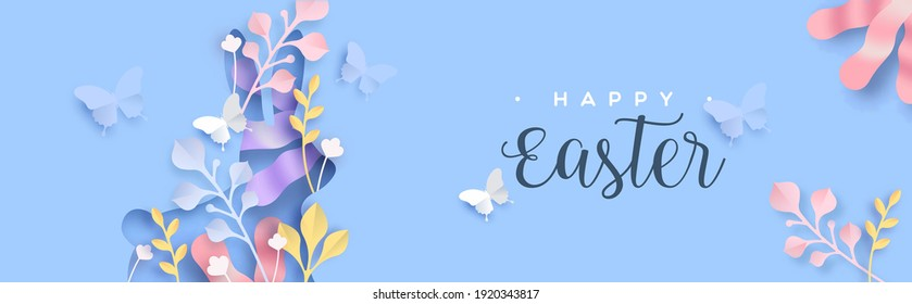 Happy easter paper cut web banner illustration of cutout rabbit shape with papercut butterfly and nature decoration. Layered 3D spring season holiday background.