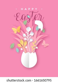 Happy Easter papercut greeting card of open egg with colorful paper cut craft butterfly and nature decoration. Realistic 3d cutout illustration for festive spring holiday.