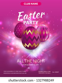 Happy easter party flyer design. Party club poster. Composition of realistic pink eggs with gold ornaments. Easter background. Eps10 vector.