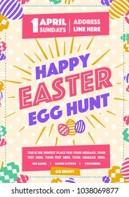 happy easter party poster with wish happy easter day egg hunt colorful style for pecial