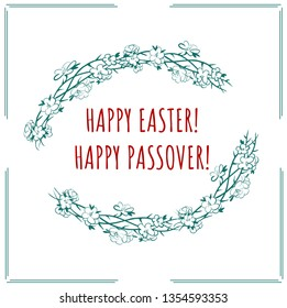 Happy easter and happy passover with frame of crown of thorns and spring flowers