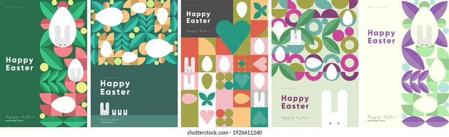 Happy Easter. Patterns. Modern geometric abstract style. A set of vector Easter illustrations. Easter eggs, rabbit. Perfect for a poster, cover, or postcard. - Shutterstock ID 1926611240