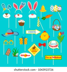 Happy Easter  photo booth props set with bunny ears  and muzzle,  hat, festive gift, cake, chick, arrow,  bunny crossing sign, tulips, vector. Party, eggs hunt