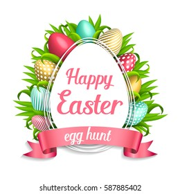 Happy Easter pink background with colorful, dotted, striped gold eggs frame and spring grass. Egg hunt for children template layout. Vector illustration. Easter wreath on white background. sale, offer
