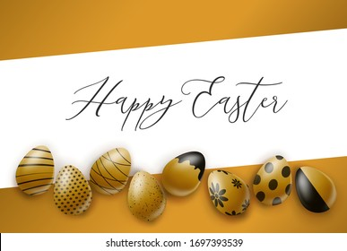 Happy Easter poster or banner. Golden eggs with black ornament. Realistic vector illustration.