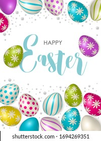 Happy Easter. Easter poster and banner template with Easter eggs. Congratulations and gifts on the day of the Passover in a reclining style. Promotion and trading template for Easter