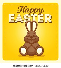 Happy easter poster card illustration with chocolate rabbit and font