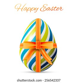 happy easter poster, colorful egg with yellow ribbon on a white background