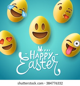 Happy Easter poster, easter eggs with cute smiling emoji faces, vector illustration.