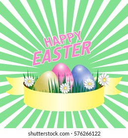 Happy Easter poster with eggs, grass, flowers and ribbon. Vector illustration.