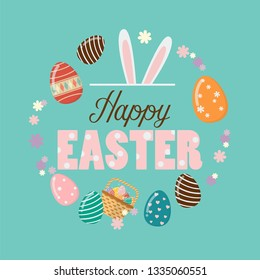 Happy Easter Poster with easter eggs. Easter greeting card