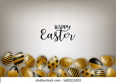 Happy easter poster. Golden eggs with black decor. Vector illustration.
