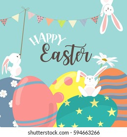 Happy easter poster, invitation card, background. the season of joy. vector illustration