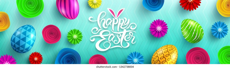 Happy Easter Poster with paper flower and colorful Painted Easter Eggs.Easter eggs with different texture.Promotion and shopping template for Easter Day.Vector illustration EPS10