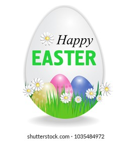 Happy Easter poster in the shape of an egg with paschal eggs isolated on white background. Vector illustration.