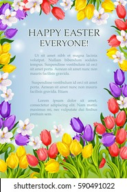 Happy Easter poster template of springtime flowers tulips, snowdrops and lily of valley. Vector greeting card for Resurrection Sunday religious Christian catholic or orthodox spring holiday