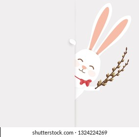 Happy Easter. Easter Rabbit Bunny standing behind a blank sign, showing on big blank sign. Cute, funny cartoon rabbit character with white copy space. vector illustration