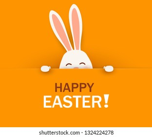 Happy Easter. Easter Rabbit Bunny standing behind a blank sign, showing on big sign. Smiling Cute, funny cartoon rabbit character. Design template for Banner, flyer, invitation, greeting card, poster.