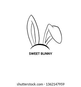 happy easter with rabbit ears mask. Graphic template, tradition, retro art, jackrabbit. isolated on white background. flat modern style trendy modern logo design vector illustration