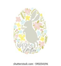 Happy Easter. Easter rabbit and floral elements inside egg shaped. Vector Illustration
