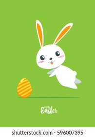 Happy Easter - Rabbit jump to catch egg