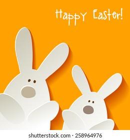 happy easter rabbits postcard yellow