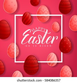 Happy Easter Red Background With Decorative Eggs