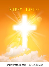 Happy Easter religious card, shining cross and sky