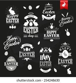 Happy Easter retro style calligraphic labels.
