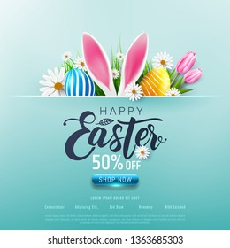 Happy Easter sale 50% off poster and template with Easter Eggs and flower on blue.Greetings and presents for Easter Day.Promotion and shopping template for Easter Day.Vector illustration EPS10