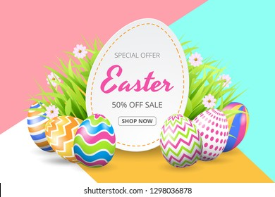 Happy easter sale background template with beautiful flowers, grass and eggs. Vector illustration