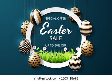 Happy easter sale background template with realistic golden shine decorated eggs and grass. greeting card, ad, promotion, poster, flyer, web-banner, article. Vector illustration