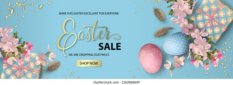 Happy Easter sale banner. Holiday background with painted eggs, gifts, cherry blossom branches and feathers. Vector top view illustration