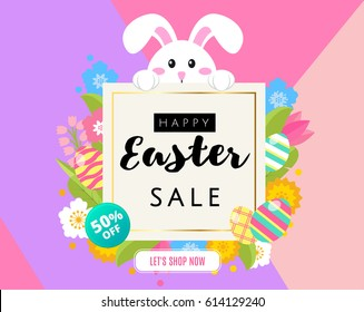 Happy Easter sale banner, poster, invitation, leaflet template design. Cute cartoon bunny rabbit with colored eggs and flowers with frame for text in  flat style. 50 % off, greeting card. Vector